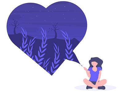 Heartbroken sad love nature character illustration free woman