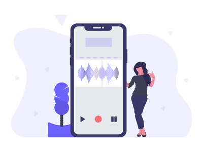 Recording voice smartphone character woman free illustration