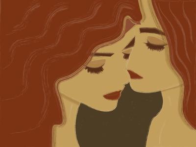 Love Thyself painting characters love art woman illustration