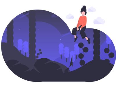 Dreamer character free woman illustration