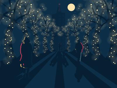 Night Stroll lighting shadows characters illustration