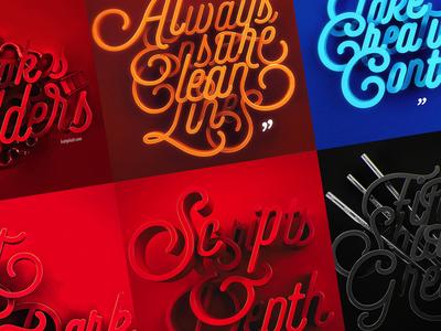 Scripts with Depth depth 3d type typography series selfie script