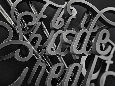 Shades of great great pencils selfie type typography script greyscale gradient grey shades