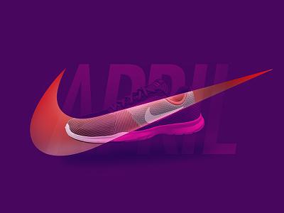 Nike orange purple duotone running digital graphics sneaker active type typography nike