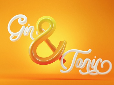 Gin & Tonic gin and tonic 3d type beverage drink gin red opposites type typography ampersand
