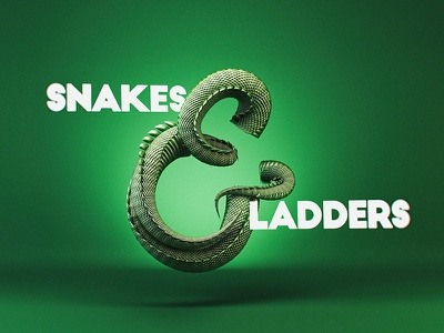 Snakes & Ladders 3d type scales serpent slithery boardgame snake type typography ampersand