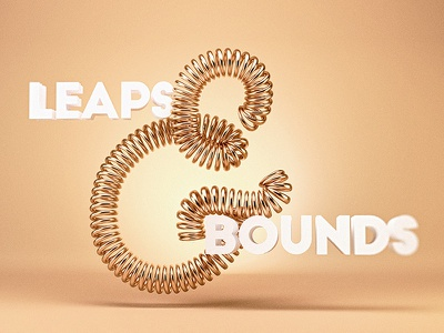 Leaps & Bounds 3d type gold leap bounce springy type typography ampersand