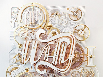 Craft White & Gold chronometer wacth detail victorian steampunk mechanical depth gold 3d type type typography 3d typography 3d craft