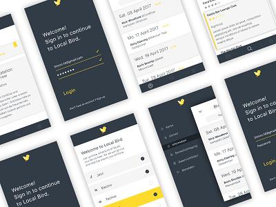 Local Bird interface minimalism mobile application ux ui design