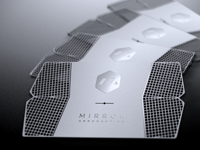 Mirror Aero Business Card elite textured cut die metal steel stainless card business
