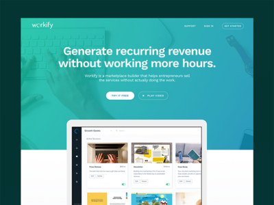Workify Splash platform bold gradient green blue one page splash startup website