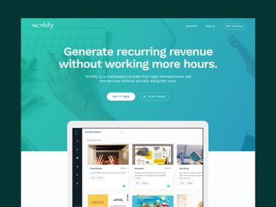 Workify Splash platform bold gradient green blue one page splash startup website