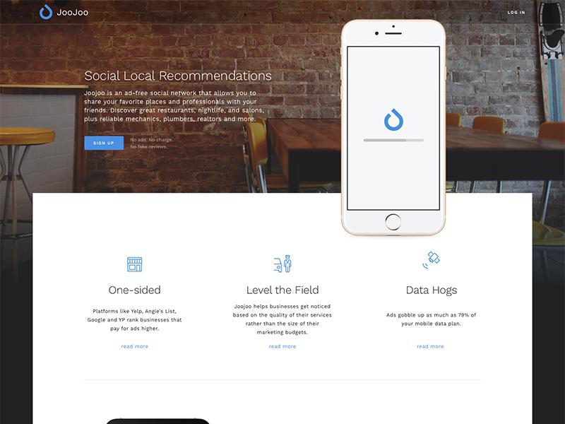 Joojoo Landing Page app mobile photo minimal clean startup splash website