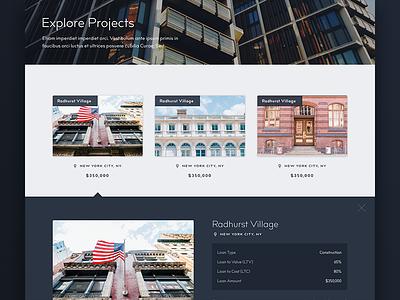 Explore Projects lender insurance commercial advisory investor capital partners startup venture capital architecture ui web design website