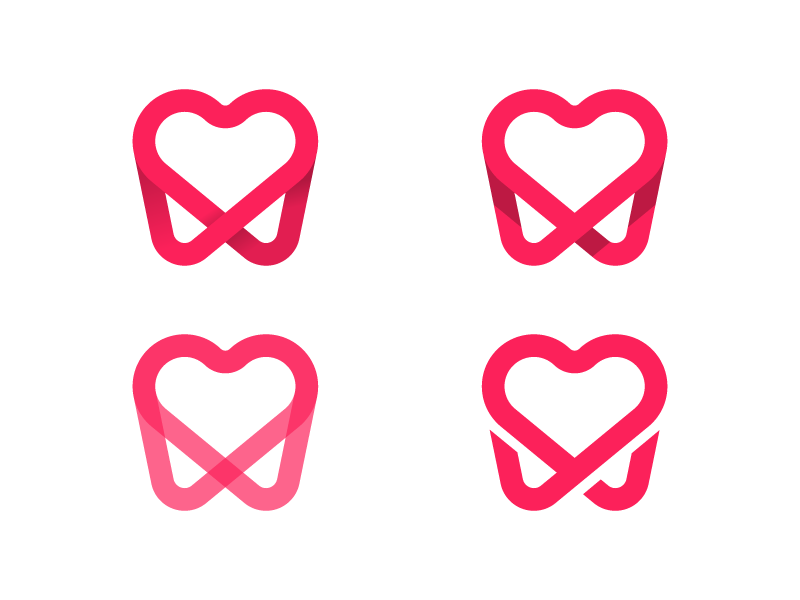 Perfect Smile WIP medical orthodontist dentist depth stroke heart tooth pink transparency process logo