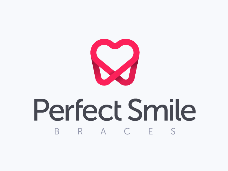 Perfect Smile pink pharmaceutical braces orthodontist medical dentist smile heart tooth brand logo