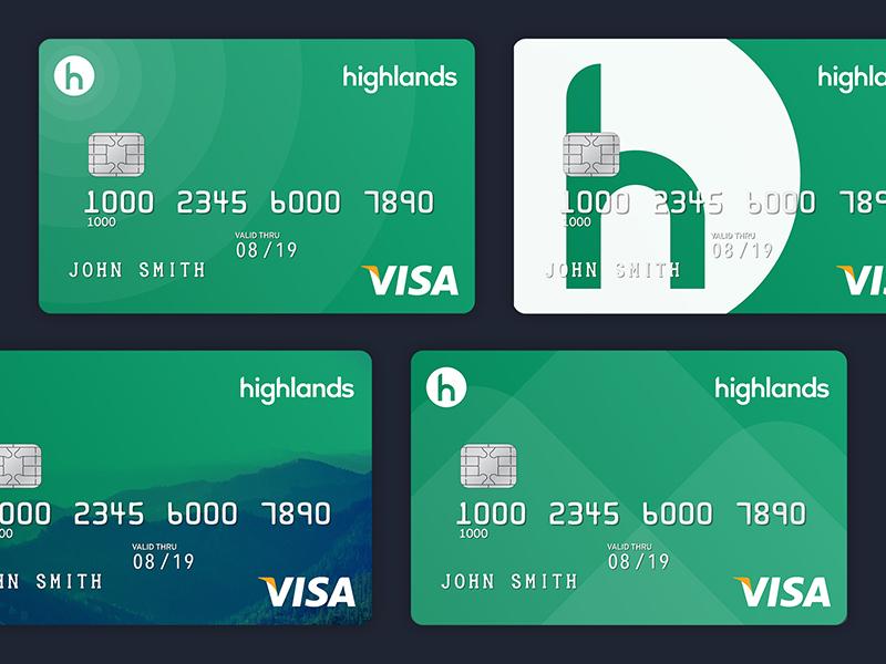 Highlands Debit Card Concepts investor finance visa branding h green mountains bank debit credit card