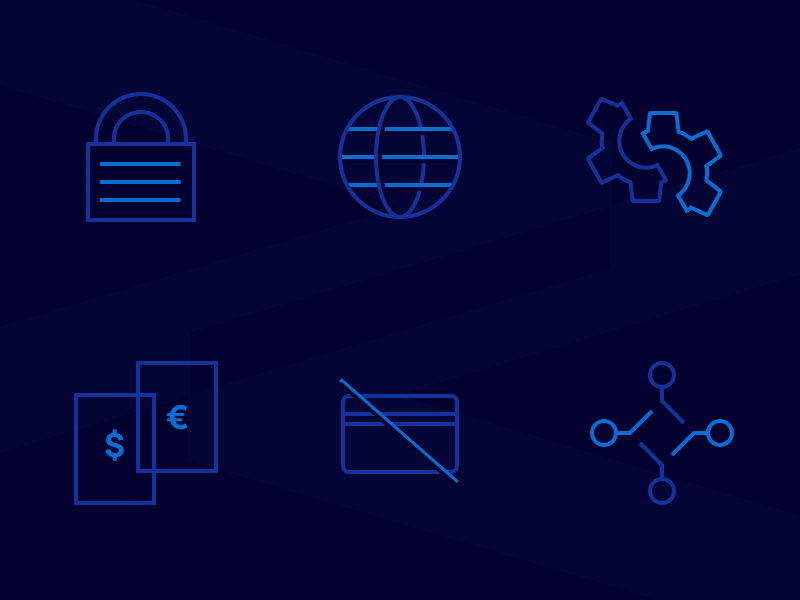 Swiss Banking Tech Icons lock connect gear global web platform security blue dark icons finance ui
