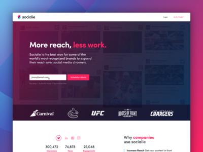 Socialie Home marketing media social bold branding web startup fun blue pink ux ui