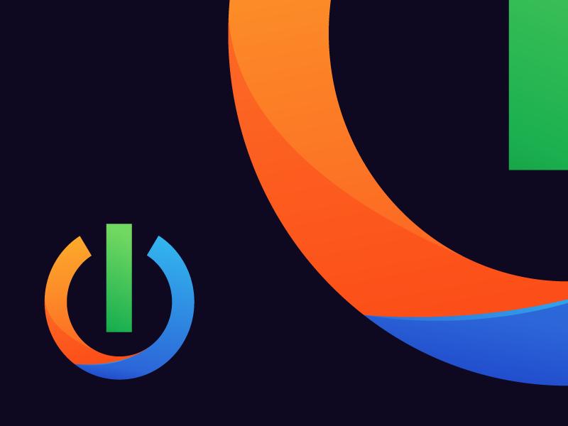 Power Gradient av tech symbol power blue orange green gradient branding mark logo icon