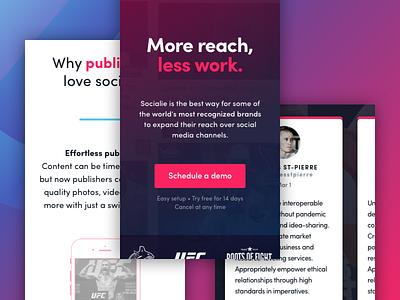 Socialie Mobile media app social gradient logo blue pink branding responsive ux ui mobile