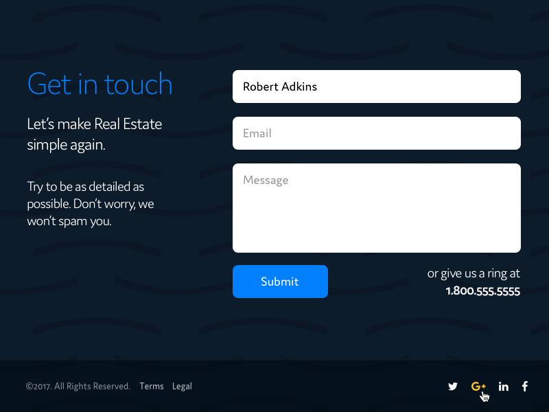 Simple Contact Form realtor realty real estate minimal contact button field form dark blue ux ui