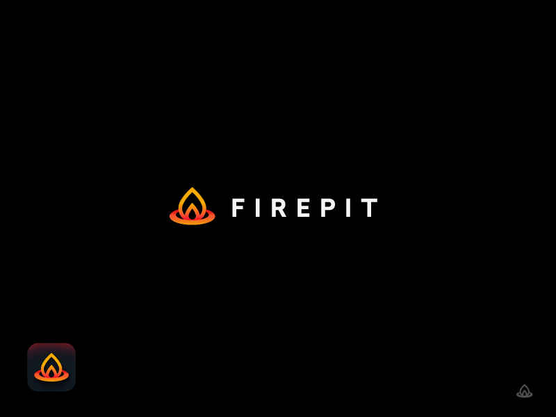 Firepit Logo + Icon web android iphone dark social fire logo app icon