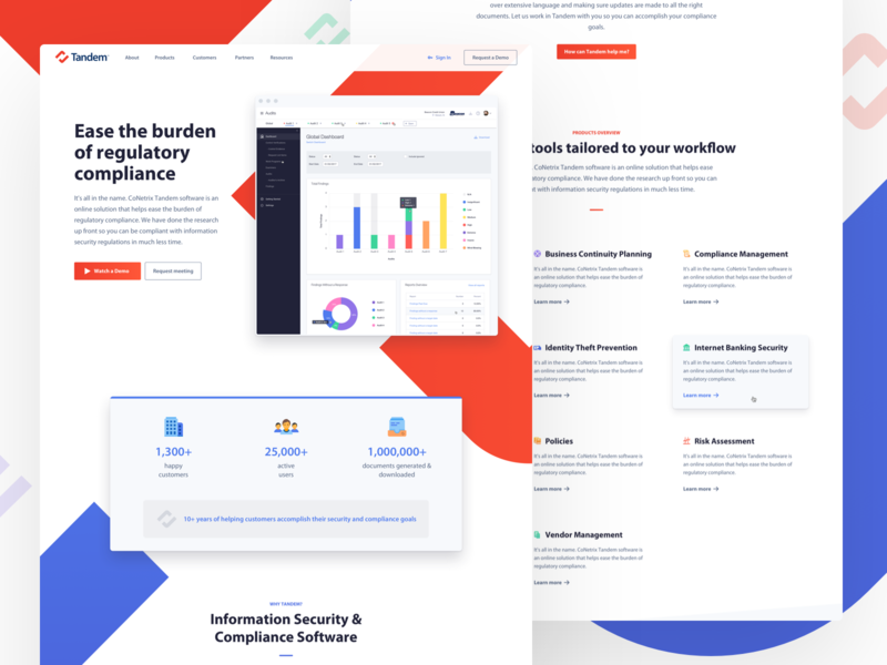 Tandem - Homepage startup blue red icons dashboard enterprise landing homepage software check design bank finance website app ux web ui branding logo
