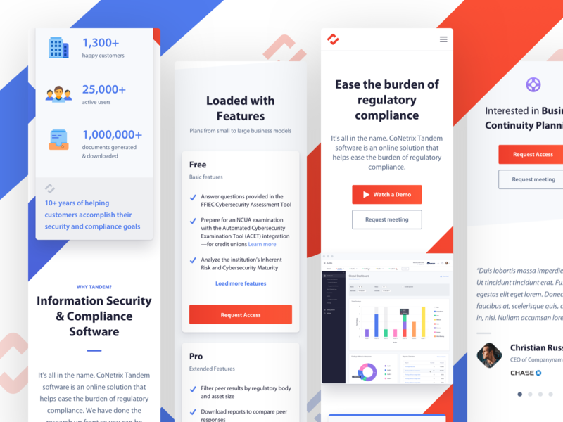 Tandem - Mobile Site icon typography mobile responsive gradient design capital mark identity bank finance startup website app ux web ui branding blue logo