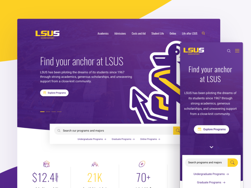 LSUS Shreveport University Website ui louisiana student sports website responsive redesign yellow purple interface institution institute landing homepage experience enterprise education design college sports college