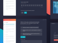 Personnel Questionnaire startup platform investing saas form gradient b2c b2b app website web app custom software finance health orange survey questionnaire ux ui dark