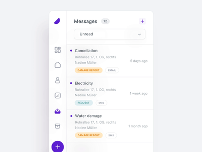 🏠 Sidebar - Property Management Dashboard property management finance animation mailbox mail user interface app dashboard message website navigation logo plus add user interface flat minimal empty state app ux ui color clean page ui app icon profile inbox contact new messages navigation sidebar