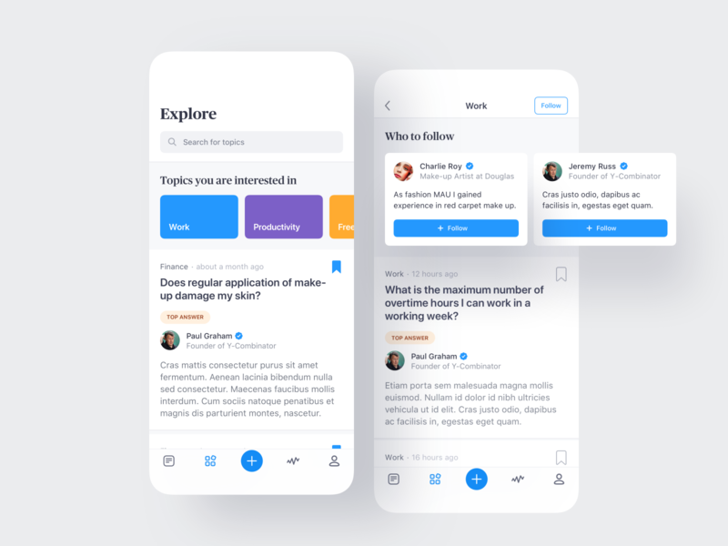 🕵🏼‍♂️ Explore fintory user user interface minimal ios blue figma clean color social icons ui ux mobile application app questions follow topics search