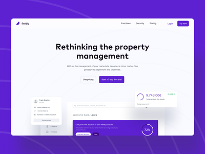 🏠 Fieldly Landing Page V2 - Property Management fintory fieldly branding real estate desktop e commerce header hero website web clean landing page webste color landing page online shopping product property management clean page ui dashboard