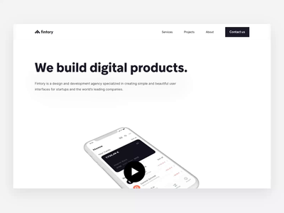 The all new Fintory.com simple abstract website animation design agency launch micro interaction mp4 flat responsive desktop design user interface clean ux ui finance website animation landing page fintory