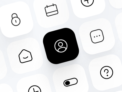🏴 Icon Set ui shadow desktop mobile logo minimal 3d illustration icon fintory design clean button home branding black white rounded icons dark black app