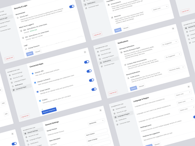 Haystack - User Settings responsive modal popover dashboard settings dashboard clean ux daily 100 challenge fintory sidebar navigation design system menu modern ui flat design design user settings settings popup modal light mode