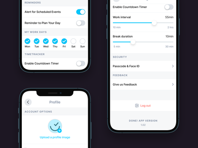 🔧 App Settings drill down upload image profile user interface app ui ux design app design fintory productivity to do clean toggle slider ios native elements app settings settings