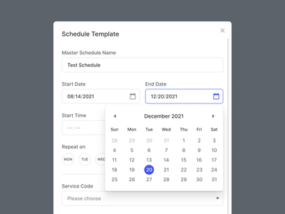 🧩 Schedule Modal repeat schedule date clean ui overlay modal box design system visual system ux ui save thread animation mp4 motion graphics calendar popup modal template schedule