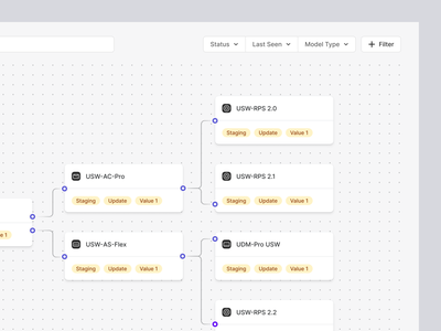 Flow Builder fintory web app filters flow chart editor nodes automation app product clean minimal interaction path cards dropdown search connect build flow builder