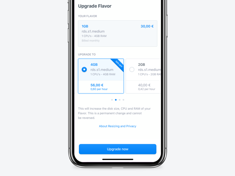 Upgrade Payment Plan - Server Management Platform user experience modal box modality dialog popup license fintech finance input forms ios13 mobile banking user interface clean button upgrade payment plan payment modal