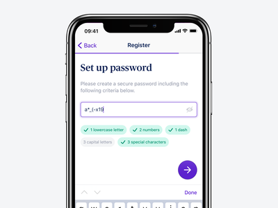 Set Up Password typography user experience ux user interface ios13 color create form minimal flat app ui design button input validation password