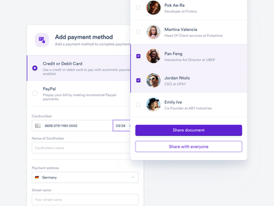 💵 Add Payment Method - Modal Windows (Desktop) minimal web popup document share profile user interface ux ui modules input finance desktop design dashboard clean button modal card payment method