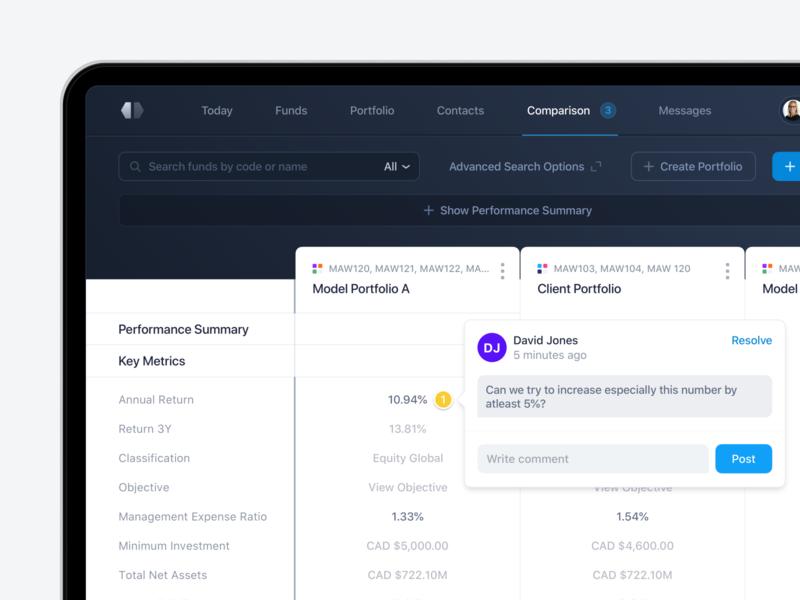 Add Comments - Fund Comparison interface portfolio platform metrics data visualization fund management fintech data comparison compare minimal app design button finance user interface dashboard clean ux ui