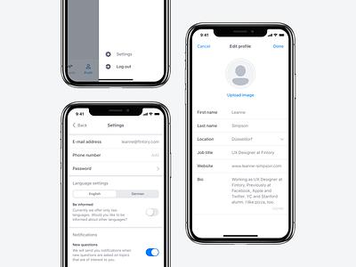 🔒 Mobile App Settings Exploration product application mobile change language user profile settings flat minimal app button design user interface dashboard clean ux ui