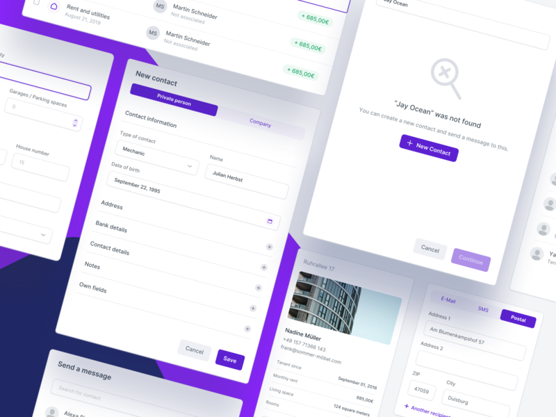 🧩 Dashboard Modules - Property Management forms chart web stats user interface clean ux ui minimal app interface button dashboard popover popup module style input analytics account