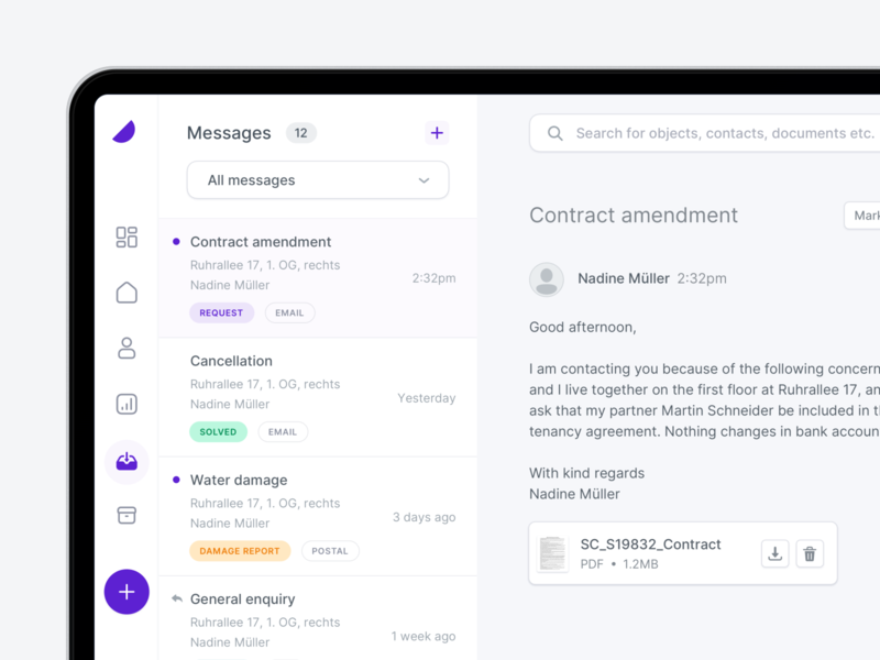 💬 Inbox - Property Management clean ux ui contacts form input send upload file web notification mailbox interface inbox e-mail dashborad app chat message