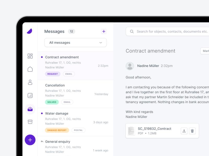 💬 Inbox - Property Management clean ux ui contacts form input send upload file web notification mailbox interface inbox e-mail dashborad app chat message