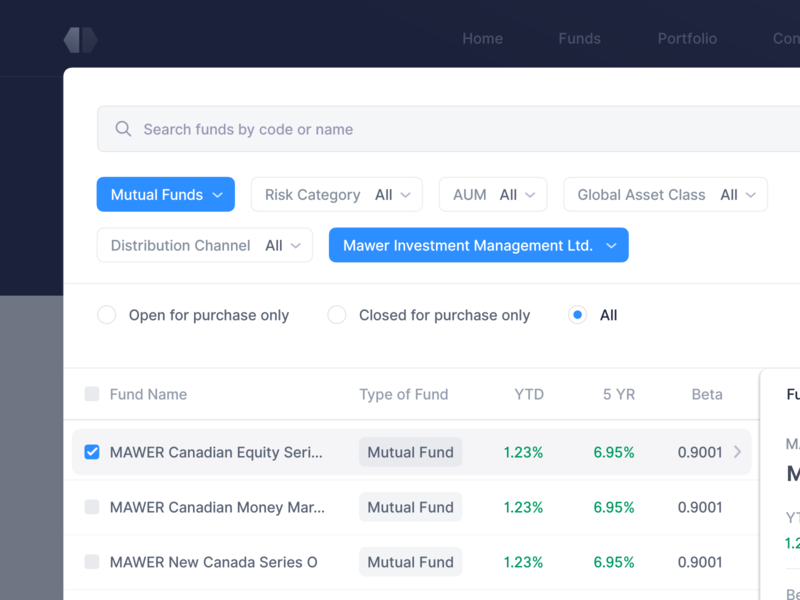 🔍Advanced Search & Filters - Fund Comparison sort table data platform clean input finance user interface button search engine product ux ui filter ui app web dashboard search filter filters