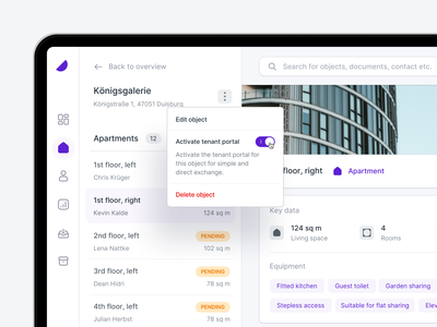 ⚙️ Edit apartments - Property Management user interface property account ui ux dashboard app minimal input dropdown edit manage invoice interface upload product web desktop clean
